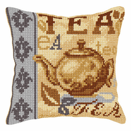 Tea Time Large Cushion Cross Stitch Kit By Orchidea