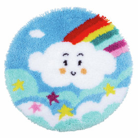 Little Rainbow Cloud Shaped Rug Latch Hook Kit by Vervaco