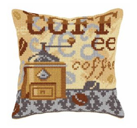 Large Cushion Coffee Time Cross Stitch Kit by Orchidea