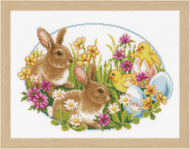 Rabbits and Chicks Counted Cross Stitch Kit by Vervaco