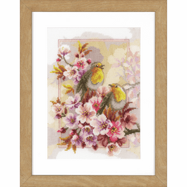 Chirping Robins Counted Cross Stitch Kit by Vervaco