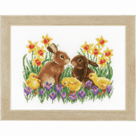 Bunnies with Chicks Counted Cross Stitch Kit by Vervaco