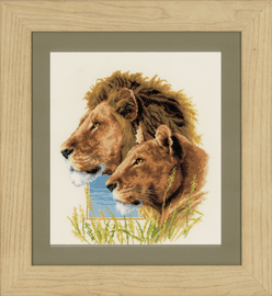 Lion Duo Counted Cross Stitch Kit by Vervaco