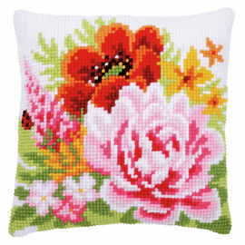 Colourful Flowers Cushion Cross Stitch Kit By Vervaco