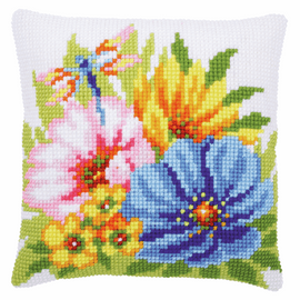 Colourful Spring Flowers Cushion Cross Stitch Kit By Vervaco