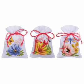 Colourful Flowers Pot-Pourri Bag Set of 3 Counted Cross Stitch Kit By Vervaco