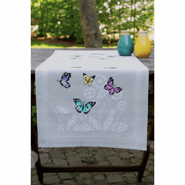 Butterfly Dance Runner Embroidery Kit By Vervaco