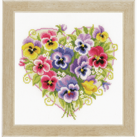 Pansies in Heart Shape Counted Cross Stitch Kit By Vervaco