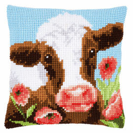 Cow in Poppy Meadow Cushion Cross Stitch Kit By Vervaco