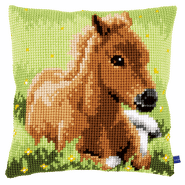 Brown Foal Cushion Cross Stitch Kit By Vervaco