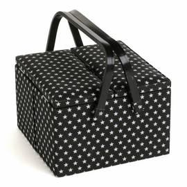 Black Star Large Square Sewing Box  with Twin Lid by Hobby Gift
