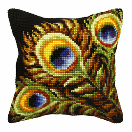 Large Cushion Peacock feathers  Cross Stitch Kit by Orchidea