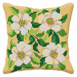 White flowers large Cross Stitch Cushion Kit by Orchidea