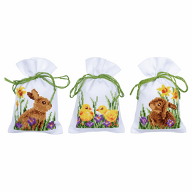 Rabbits with Chicks Set of 3 Pot-Pourri Bag Counted Cross Stitch Kit By Vervaco