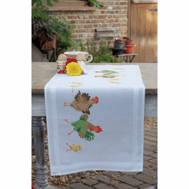 Chicken Family Table Runner Cross Stitch Kit By Vervaco