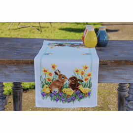 Rabbits with Chicks Runner Counted Cross Stitch Kit By Vervaco