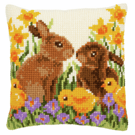 Rabbits with Chicks Cushion Cross Stitch Kit By Vervaco
