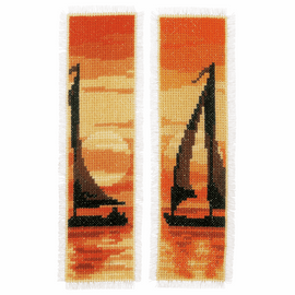 Sailing at Sunset Set of 2 Bookmarks Counted Cross Stitch Kit By Vervaco