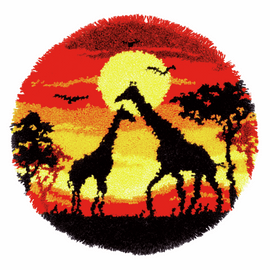 Giraffes in the Sunset Shaped Rug Latch Hook Kit By Vervaco