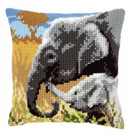 Elephants Cushion Cross Stitch Kit by Vervaco