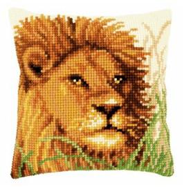 Lion Cushion Cross Stitch Kit by Vervaco
