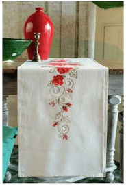 Roses Table Runner Embroidery Kit by Vervaco