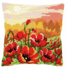 Poppy Meadow Cushion Cross Stitch Kit by Vervaco