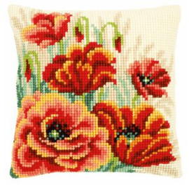 Cross Stitch Kit: Cushion: Poppies II by Vervaco