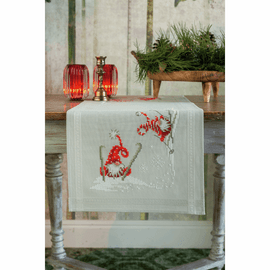 Christmas Gnomes Skiing Table Runner Embroidery Kit By Vervaco