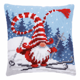 Christmas Gnome Skiing Cross Stitch Cushion Kit By Vervaco
