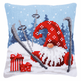 Christmas Gnome Skiing Cushion Cross Stitch Kit By Vervaco