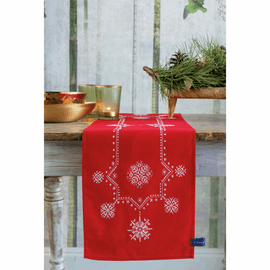 White Christmas Stars Table Runner Embroidery Kit By Vervaco