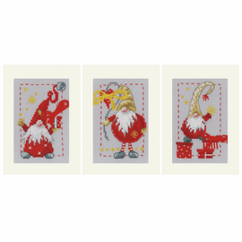 Christmas Gnomes Set of 3 Counted Cross Stitch Kit Greeting Card Kit By Vervaco