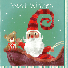 Happy Santa Diamond Painting Greeting Card Kit By Vervaco