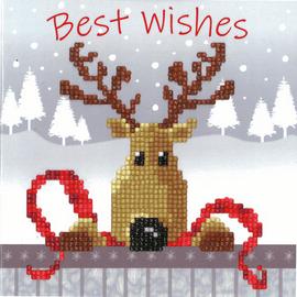 Reindeer Diamond Painting Greeting Card Kit By Vervaco