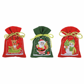 Christmas Figures: Set of 3  Pot-Pourri Bag Counted Cross Stitch Kit By Vervaco