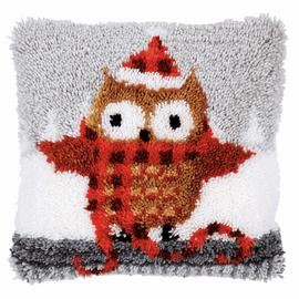 Christmas Owl Latch Hook Kit Cushion By Vervaco