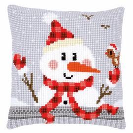Snowman Cushion Cross Stitch Kit By Vervaco