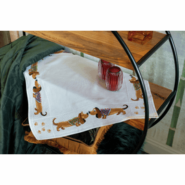 Dachshunds Tablecloth Counted Cross Stitch Kit By Vervaco