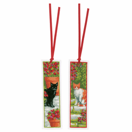 Cats Set of 2 Bookmark Counted Cross Stitch Kit By Vervaco