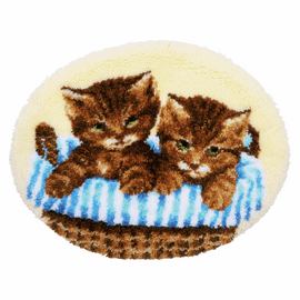 Kittens in Basket Latch Hook  Shaped Rug Kit By Vervaco