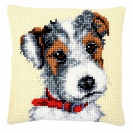Dog with Red Collar Cushion Cross Stitch Kit By Vervaco