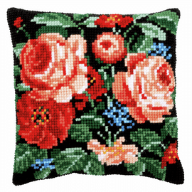 Roses Cross Stitch Kit Cushion By Vervaco