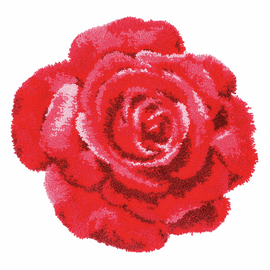 Red Rose Shaped RugLatch Hook Kit By Vervaco