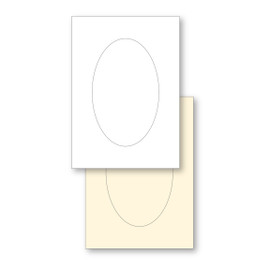 White C5 Oval Aperture Card pk of 4 in Gold Dust Shimmer