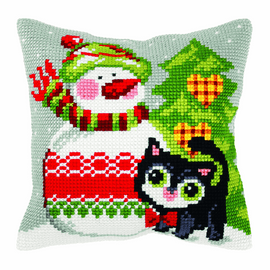 Snowman and Cat Chunky Cushion Kit by Orchidea