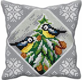 Christmas Blue Tits Chunky Cross Stitch Kit by Orchidea