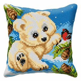 White Bear Large Cushion Cross Stitch Kit By Orchidea
