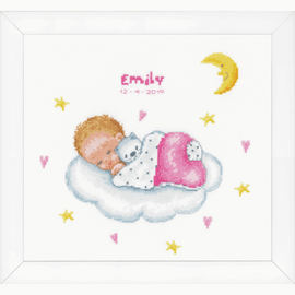 Sleeping Baby on Cloud Counted Cross Stitch Kit By Vervaco