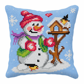 Snowman Large Cushion Cross Stitch Kit By Orchidea